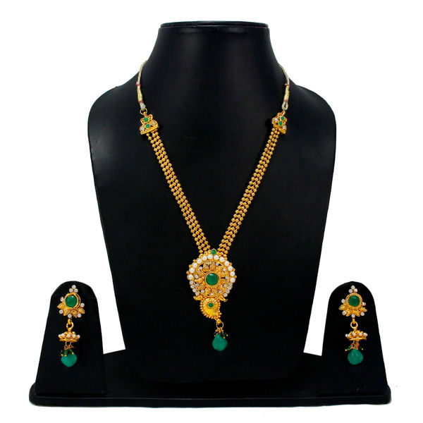 Pearl And Green Stone Adorned Golden Necklace Set