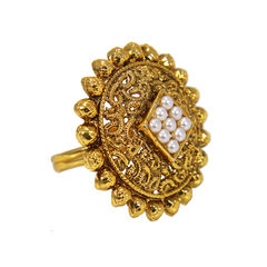 Ethnic Gold Tone Ring In Golden Adorned With Pearl, adjustable