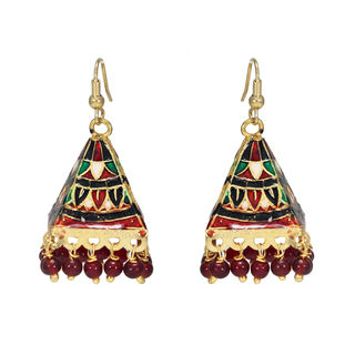 Temple Design Meenakari Ethnic Danglers