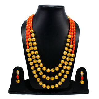 Orange And Golden Beads Triple Layer Necklace
