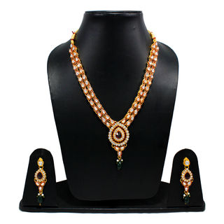 Golden Necklace Set With Kundan And Red Stones
