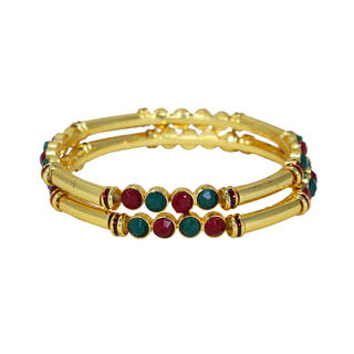 Pair Of Gold Tone Bangles Adorned With Pink Green Stones, 2-10