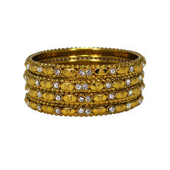 Everyday Wear 4 Bangle Set In Gold Tone With Stones, 2-8