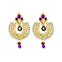Gold Tone Traditional Earrings In Purple With Kundan And Pearl