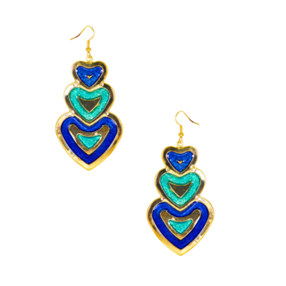 Beautiful Hearts Design Dangler Earrings In Blue