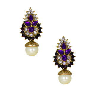 Purple and Golden Ethnic Stud Earrings For Women