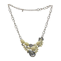 White Beads Fashion Necklace Studded With Crystal