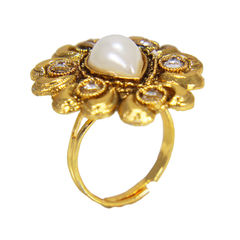 Pearl And White Stone Adorned Alloy Ring For Women, adjustable