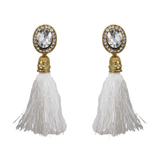 White Stone Adorned Earrings With Dangling Threads