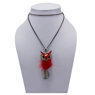 Red and Metallic Black Fox Pendant Adorned With Fur