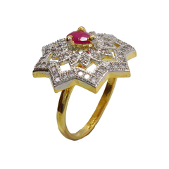 AD Embellished Gold Tone Ring For Women
