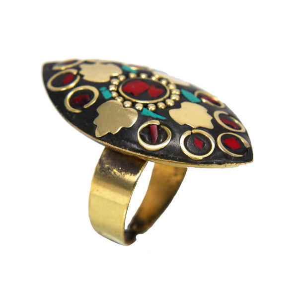 Girl s Fashion Ring With Golden Leaf Design On Black Stone, adjustable