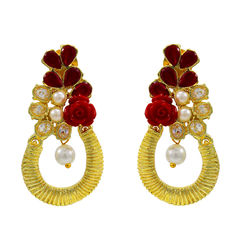 Antique-Style Gold Tone Earring Studded With Red Stones