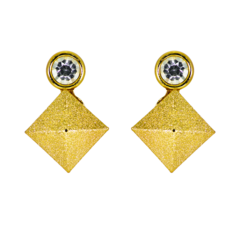 Golden Textured Square Fashion Earrings For Women