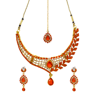 Gold Tone Necklace Set With Orange And White Stone