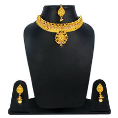 Gold Tone Traditional Necklace Set With Dangling Pearl
