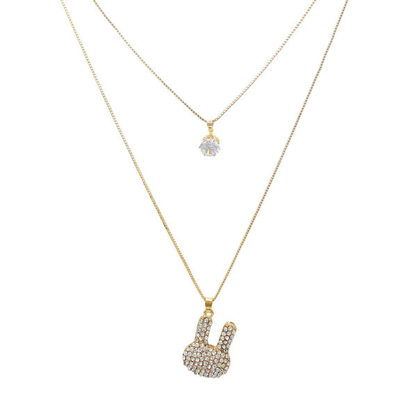 Adorable Golden Double Chain Fashion Pendant