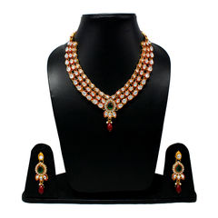 Red Green Stone Necklace Set Studded With Kundan