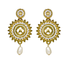 Golden Ethnic Dangler And Drop With Pearl For Women