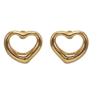 Gold Tone Heart Shape Studs For Girls