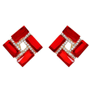 Red Square Stud With Silver Stones For Women
