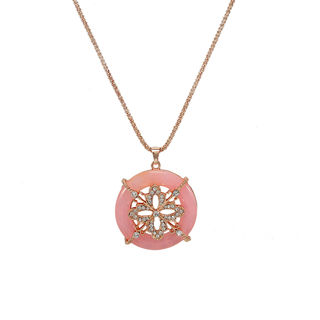 Floral Pink Pendant On Gold Tone Chain