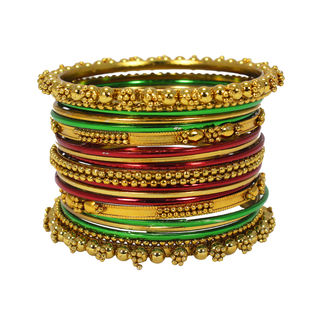 Multi-Color 21 Bangle Set In Metal Alloy For Women, 2-6