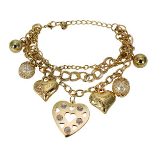 Golden Hearts With Triple Chain Bracelet For Women, free size