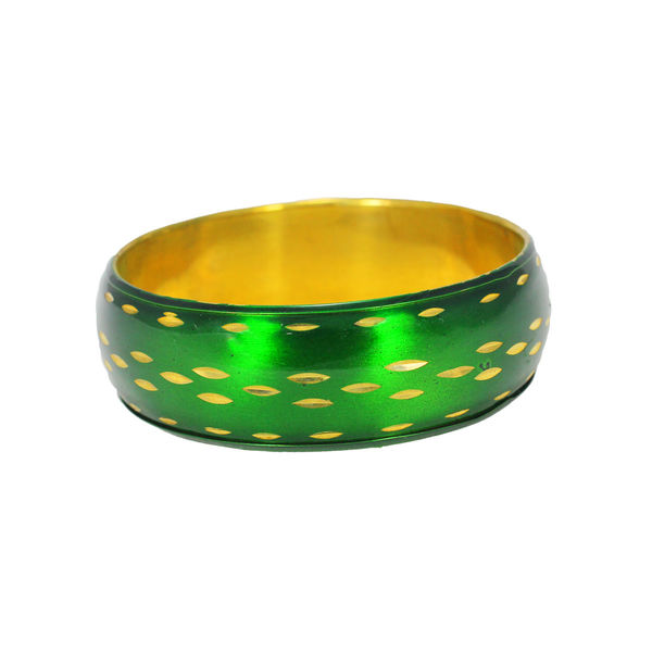 Trendy Fashion Bracelet With Green And Golden Design, 2-6