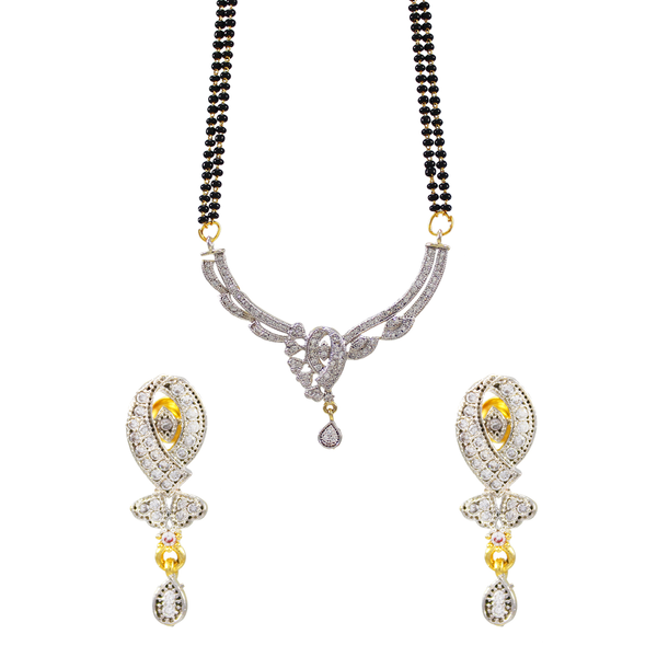 American Diamond Studded Mangalsutra Set For Women