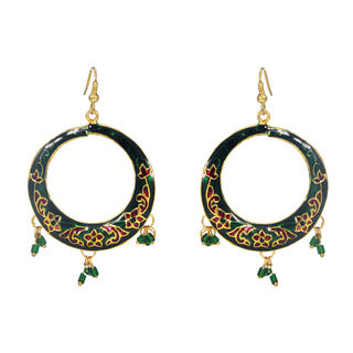 Green Danglers In Round With Meenakari Work