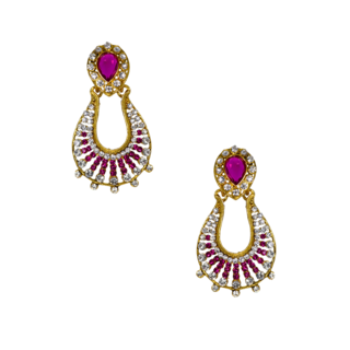 Golden And Pink Designer Ethnic Danglers For Women