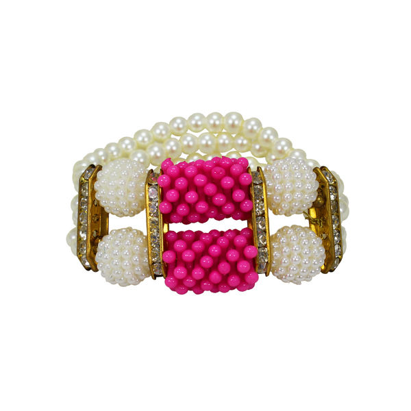 Trendy Pearl Adorned Bracelet In Pink And White For Women, adjustable