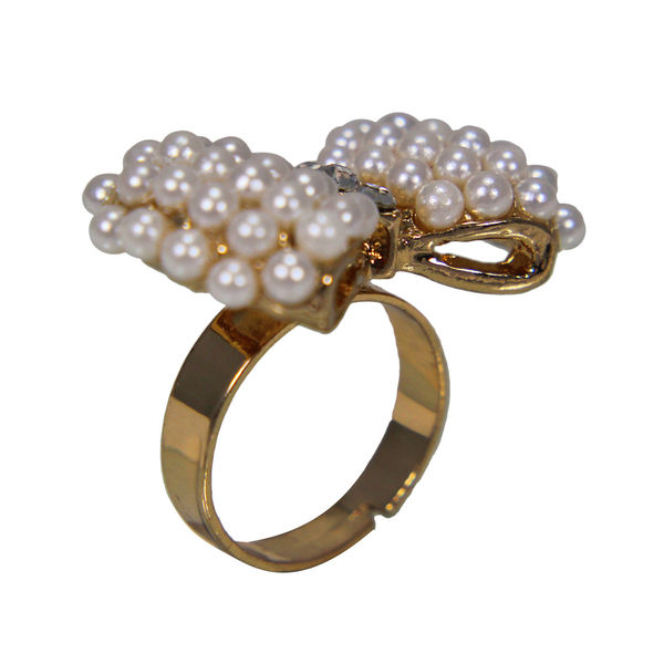 Trendy Bow Style Pearl Studded Fashion Ring For Girls, adjustable