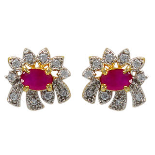 Floral Design American Diamond Studs With Pink Stone