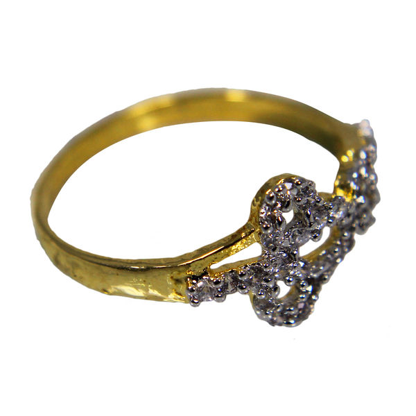 White Stone Studded Gold Tone Ring For Girls, 10