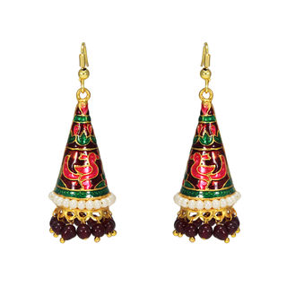 Multi-Color Pearl Adorned Meenakari Jhumki For Girls