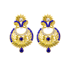 Golden And Blue Party Wear Ethnic Danglers For Women
