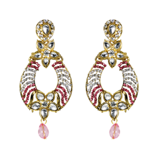 Pink Ethnic Kundan Dangler And Drop Earrings