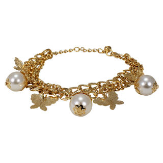 Fashion Bracelet With Dangling Pearl And Butterflies, free size