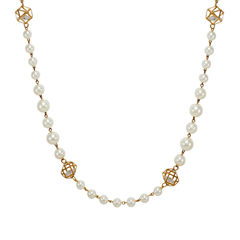 Pearl And White Stone Embellished Long Chain For Women