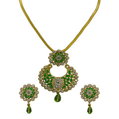 Light Green And White Stone Pendant Set With Golden Chain