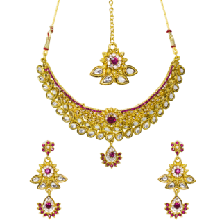 Golden And Pink Necklace Set Studded With Kundan