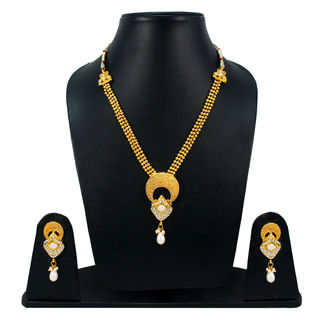 Traditional White And Golden Necklace Set With Dangling Pearl