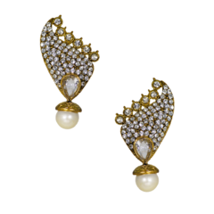 Designer Stud Earrings With Pearl And CZ Stones