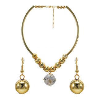 Gold Tone Classy Choker With Dangling Stone For Women