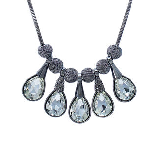 Silver Tone Fashion Necklace With Dangling White Stones