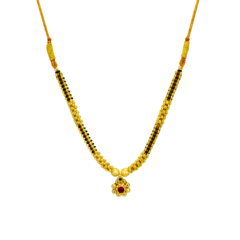 Ethnic Thushi Necklace Set In Golden And Black Beads