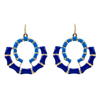 Double Round Blue Dangler For Women