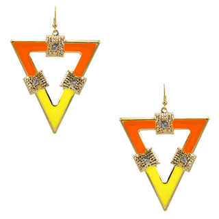 Yellow And Orange Triangle Shape Earring